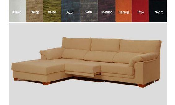Sofá de tres plazas mas chaise longue a izquierda con ASIENTOS ABATIBLES tapizado en tela. 8 COLORES PARA ELEGIR.