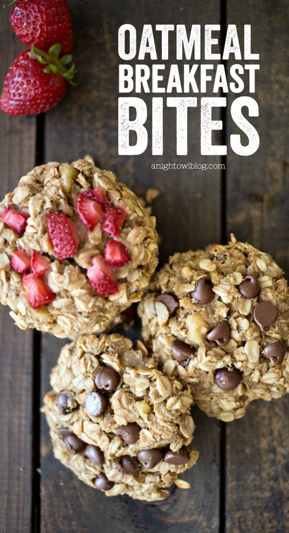 These Oatmeal Breakfast Bites are easy to make and great for on-the-go! Perfect for busy mornings or even after-school snacks!: