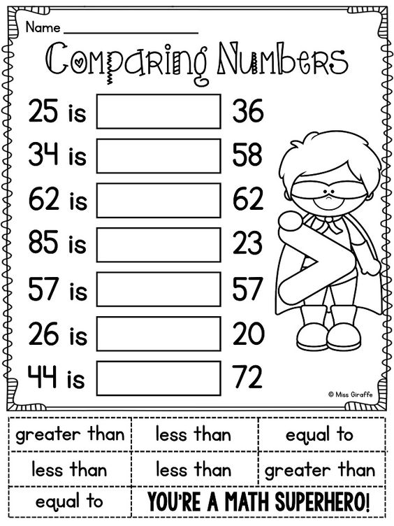 Comparing two digit numbers first grade worksheets
