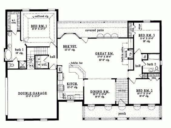 House plans house and basements on pinterest for Half basement house plans