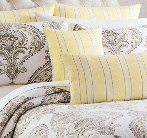 tahari home cotton 3 piece king quilt set reversible stripes gray yellow grey beige taupe white damask paisley scroll medallion quilted bedding tahu2026