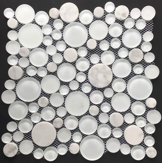 Penny Round Glass Tile Thinny Pennies X2122 20mm Cyan Blue Tint2 Y78 20mm In 2020 With Images Glass Tile Recycled Glass Tile Penny Round Tiles