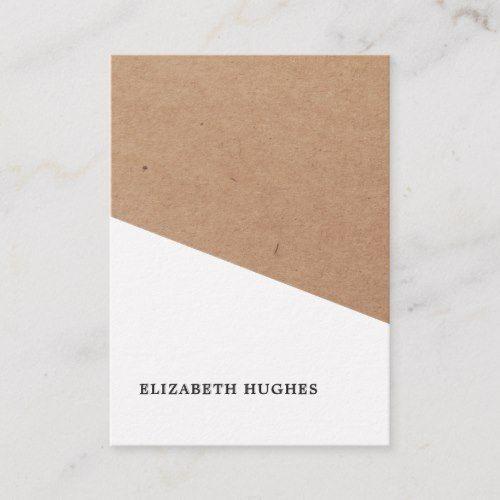 Modern Printed Kraft Paper White Geometric Business Card Zazzle Com In 2021 Minimalist Business Cards Business Card Design Business Card Template Design