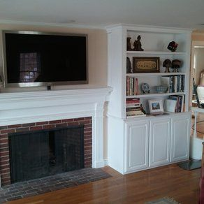 tv above electric fireplace with bookshelves   ... For Custom Plywood  French-Country
