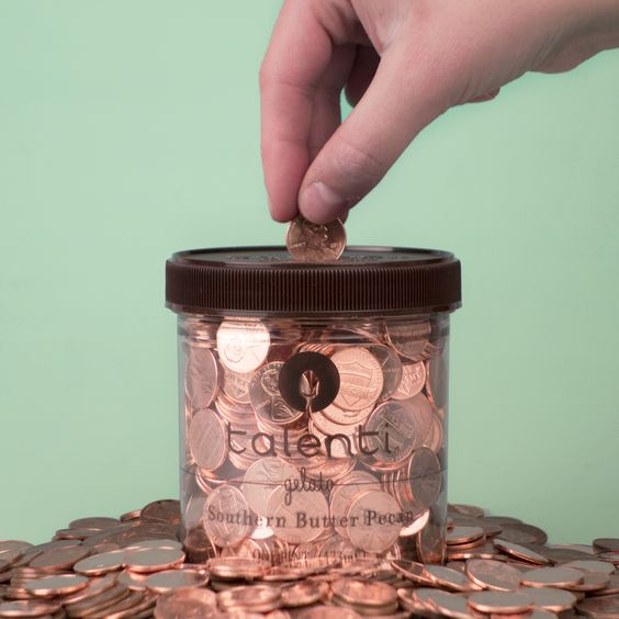 Use empty Talenti gelato pints to create a piggy bank where you can see your progress. (Maybe save up to buy more gelato?):