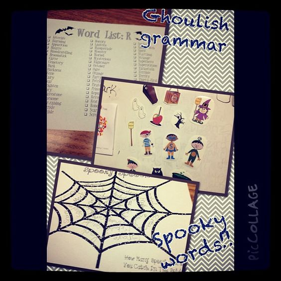 Using my Halloween fun pack to create spooky stories with adjectives and prepositional phrases.  Spooky speech webs from crazy speech world and spooky speech freebie activities from sublime speech to work on artic with grammatically correct sentences!! #favehalloweentx #InstaSLP #slpeeps #Padgram