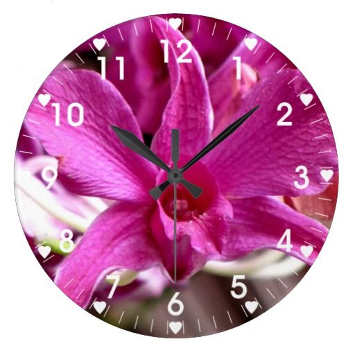 Pink Deco Orchid Wall Clock
