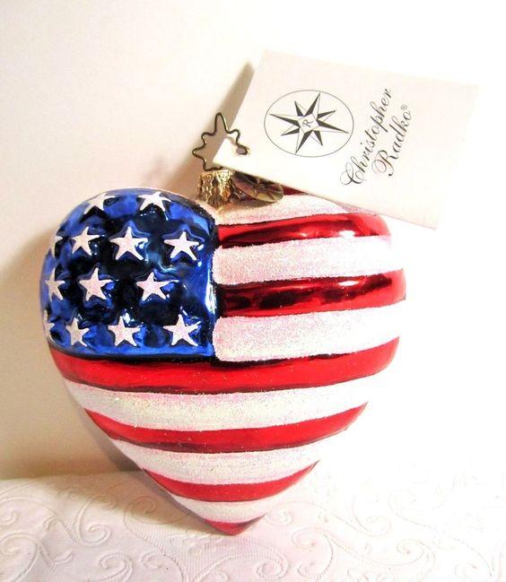 Christopher radko american heart patriotic ornament flag