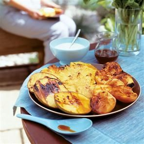 Chargrilled tropical fruits with orange syrup