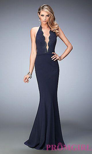 Long Scalloped V-Neck Halter Prom Dress by La Femme at PromGirl.com