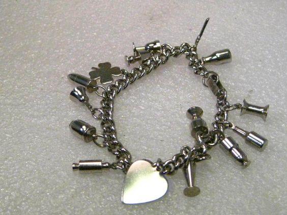 "Vintage Silver tone 14 Charm Bracelet, 7"", Heart, Clover, Bullet, Bell, Key plus #Unbranded #charmbracelet"
