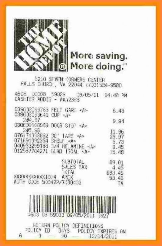 Home Depot Receipt Template In 2021 Invoice Template Receipt Template Home Budget Template