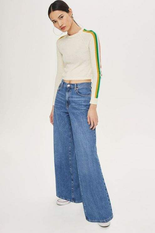 Topshop Moto light blue wide leg jeans