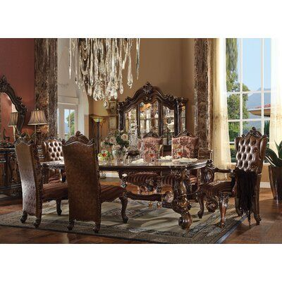 Andrew Home Studio Medley Highback Side Chair Upholstery Fabric Faux Leather Upholstered In Light B In 2021 Dining Room Victorian Formal Dining Room Sets Dining Table