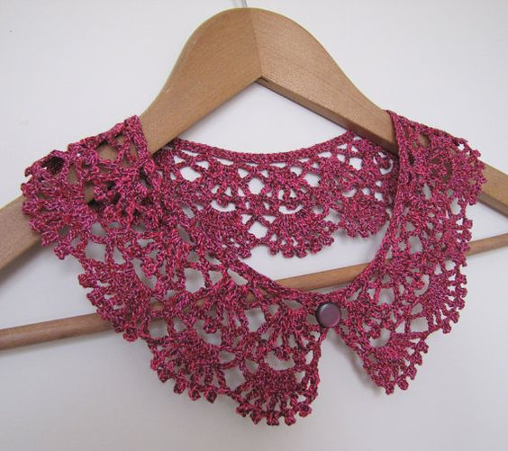 Cherry Pie Lace crochet collar in burgundy wine and by elfinhouse