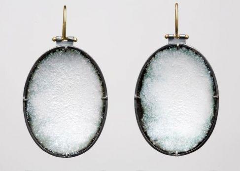 Enamel White Oval Earrings   April Higashi, United States