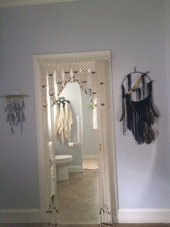 MADE TO ORDER: Beaded Door Decor hand knotted in Macrame. Size is ...