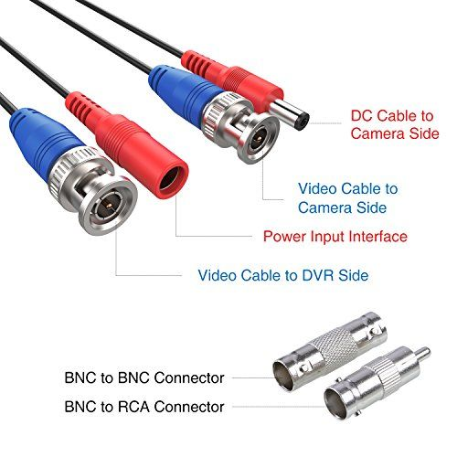 100/' feet BNC CCTV Video Power Cable for Security Camera includes RCA adaptors