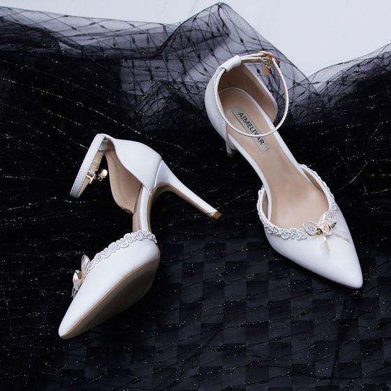 Eleganckie Kosc Sloniowa Koktajlowe Buty Damskie 2020 Z Paskiem Kokarda 9 Cm Szpilki Szpiczaste Na Obcasie Stiletto Heels Pointed Toe Heels Heels