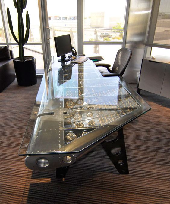 35 cool desk designs for your home wings offices and for Aircraft decoration