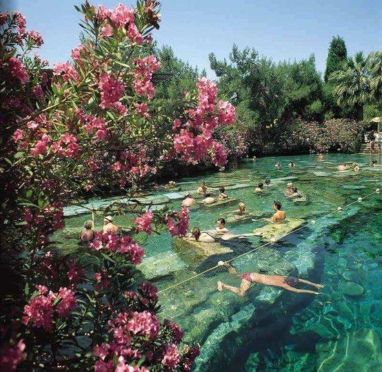 Ancient pool of pamukkale, turkey.