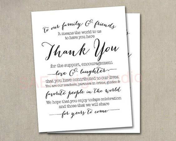 Wedding Day Reception Thank You Menu Size Table Cards by SAEdesignstudio