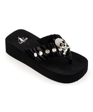 Corkys Footwear Black Zebra Buccaneer Flip Flop Plush