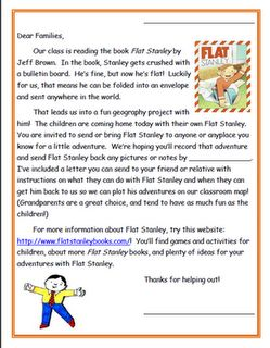 FREE Flat Stanley project idea and letter :)  Elementary Matters: Flat Stanley, Revisited