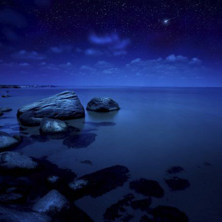 Nighttime photo of sea and starry sky Burgas region Bulgaria Canvas Art - Evgeny KuklevStocktrek Images (29 x 29)