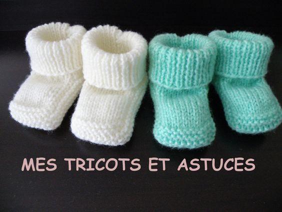 Modèles de tricot pour bébé : chaussons, brassières, robes, gilets, pull..., avec leurs explications. Pour débutantes ou expertes.