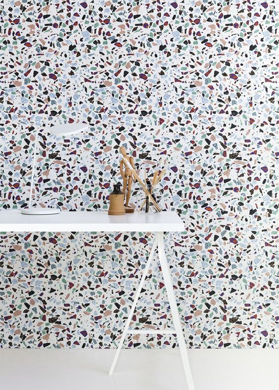 la maison d 39 anna g wow this is an impressive terrazzo wall that combines colorful aggregates. Black Bedroom Furniture Sets. Home Design Ideas