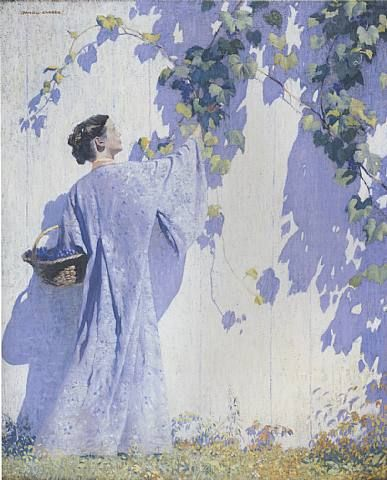 Gathering Grapes - Daniel Garber 1909 American Impressionist