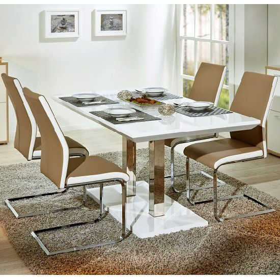 Edmonton Extendable Dining Set White Gloss 4 Marine Beige Chairs Dining Table Solid Oak Dining Table Contemporary Wooden Dining Table