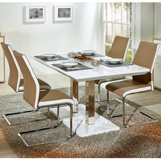 Edmonton Extendable Dining Set White Gloss 4 Marine Beige Chairs