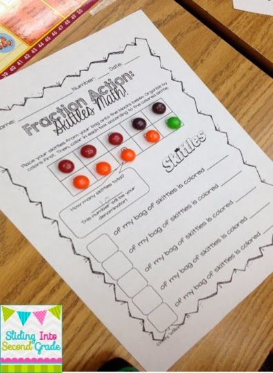 After you've built up some background knowledge students can engage with their learning through this hands on activity. I called mine Fraction Action: Skittles Math!
