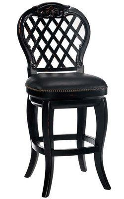 """30""""H Braxton Swivel Bar Stool with Black Leather Seat by Hillsdale Furniture. $479.00. Some assembly may be required. Please see product details.. Dining and Kitchen->Bar Stools and Tables->Barstools->Wood Barstools. Dining and Kitchen. 19""""W 20""""D 47.5""""H (30""""Seat Height). Dimension: 19""""W 20""""D 47.5""""H (30""""Seat Height) Finish: Black Honey Material: Wood and Leather Braxton Wood Swivel Bar Stool with Black Leather Seat. Inspired by the rose covered lattices of days gone by, the ..."""