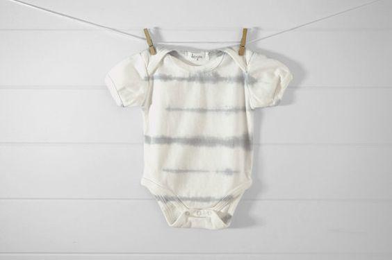 Organic cotton baby onesie with hand dyed shibori by DeerJaneShop, $32.00