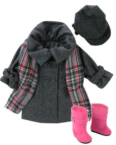 Doll Dress Coat fits American Girls Dolls, 4 Pc. Sophia's 18 Inch Doll Coat/Clothing Set Includes Stylish Gray Coat, Doll Hat, Plaid Scarf & Hot Pink Doll Boots Sophia's http://www.amazon.com/dp/B005PYJY8K/ref=cm_sw_r_pi_dp_s3yewb0STVVPY