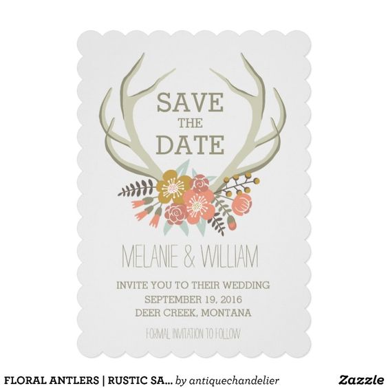 CUSTOMIZABLE FLORAL ANTLERS | RUSTIC SAVE THE DATE CUSTOM INVITE by the Antique Chandelier © Jennifer Clarke 2014. Pin to your #woodland #wedding inspiration boards! Customize and purchase at http://www.zazzle.com/floral_antlers_rustic_save_the_date_invitation-161646665611633943?rf=238589399507967362