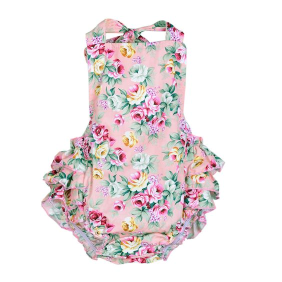 2016 Baby Girl Ruffles Romper Jumpsuit Sleeveless Cotton Floral ...