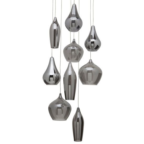 $831 NOT LONG ENOUGH The Emma Pendant features Smoked Grey outer glass shades with Frosted White interior shades and a Chrome canopy. Nine 10 watt, 12 volt JC G4 halogen bulbs are included. 12 inch width x 12 inch height. Includes 59.25 inch field cuttable suspension cable.<br />