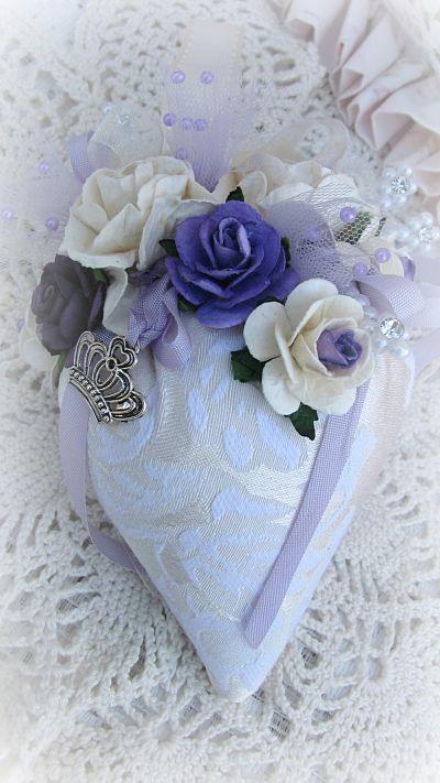 Lavender Strawberry Sachet With Crown-sachet,roses,cottage,gift,handmade,ribbon,pearls,netting,paper,bride,lavender,charm