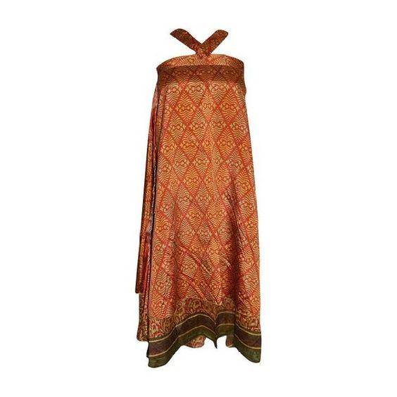 Mogul Interior Women's Wrap Skirt Two Layer Orange Printed Bohemian... (1.800 RUB) ❤ liked on Polyvore featuring dresses, bohemian wrap skirts, reverse dress, orange dress, bohemian style dresses and brown silk dress