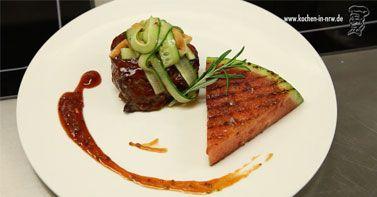 BBQ-Steak mit gegrillter Melone