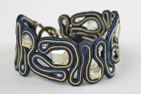 Blue Soutache Bracelet with Rhinestones Handmade Designer Beautiful Accessory   eBay