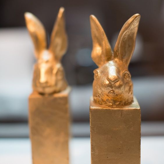 Gilded Bunny on Block, from the Areté Collection  #beautiful #bunny #homedecor #sculpture #interiors #interiordesign