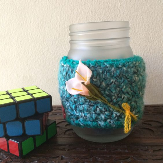 Drinking jar, free crochet