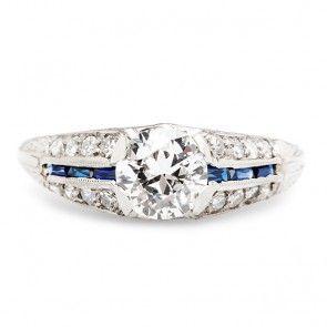 Vintage Diamond Sapphire Engagement Ring | Art Deco Diamond Sapphire Engagement Ring