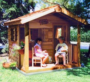 Wooden playhouse with a porch play houses pinterest for Kids cabin playhouse