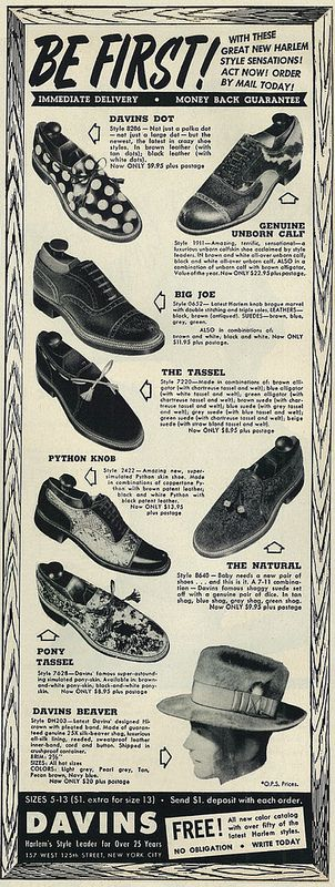 "953 Fashion Ad, Davins Shoes & Hats, ""Be First! Harlem Style Sensations""  Vintage 1950s men's fashions magazine advertisement, Davins shoes and hats, 1953   Published in Ebony, December 1953 - Vol 9, No. 2"
